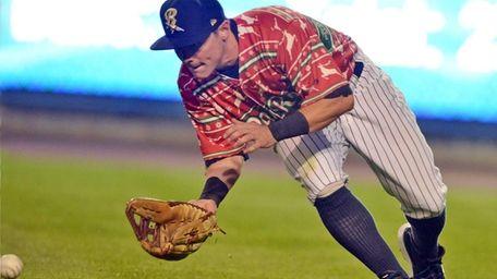 Scranton/Wilkes-Barre RailRiders' Taylor Dugas scoops up a ground