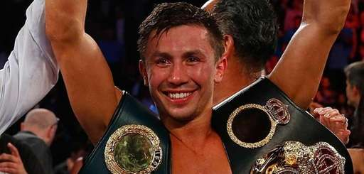 Gennady Golovkin celebrates after knocking out Daniel Geale