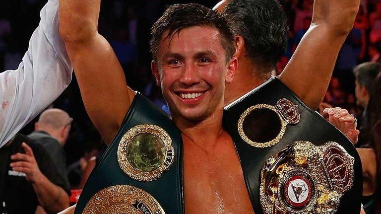Gennady Golovkin celebrates after knocking out Daniel Geale