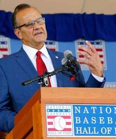 Joe Torre gives his speech at Clark Sports
