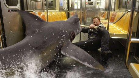 Fin Shepard (Ian Ziering) battles a shark on