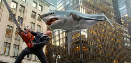 Fin Shepard (Ian Ziering) battles a shark on