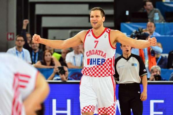 Bojan Bogdanovic of Croatia celebrates after winning the
