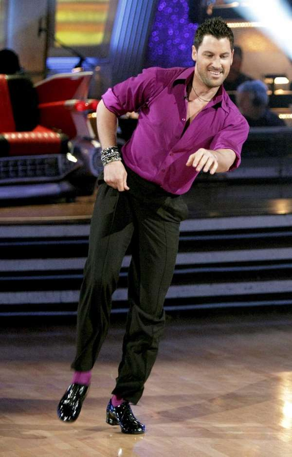 Maksim Chmerkovskiy performs on the celebrity dance competition