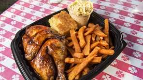 Barbecued chicken with sweet potato fries at Smokin'
