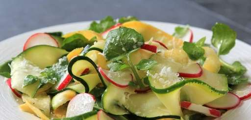 Zucchini and yellow squash ribbons, made with a