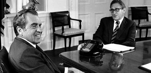 President Richard Nixon meets with foreign affairs adviser
