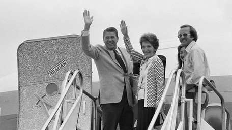 Ronald Reagan and his wife, Nancy, en route