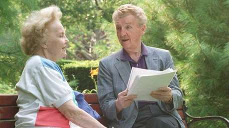 Eddie Bracken and his wife, Connie, rehearse lines