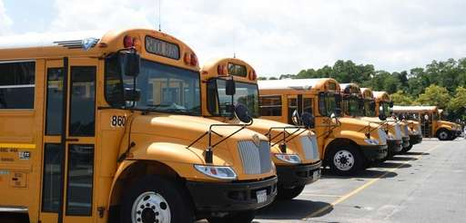 School buses parked at North Hempstead Beach Park's