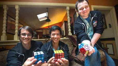 Speed cubers Bobby d'Angelo, 21, of Wantagh, and