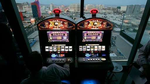 Bally Technologies slot machines are showcased at the