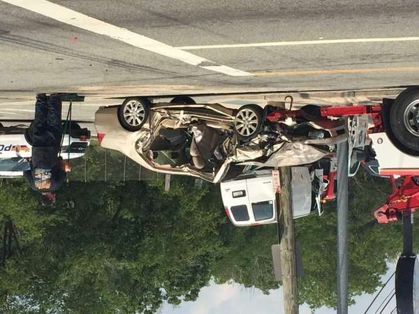 A two-vehicle accident closed Old Country Road late
