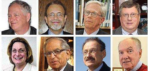 Grid of eight retired school administrators from Long