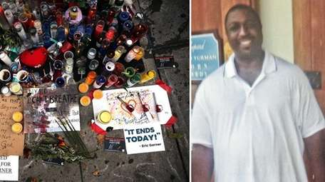 A memorial for Eric Garner is shown near