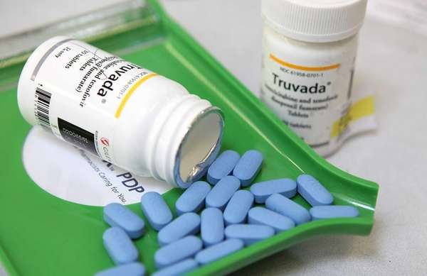 Bottles of antiretroviral drug Truvada are displayed at