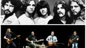 The Eagles in 1977 (top), and performing at
