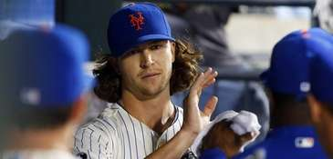 Jacob deGrom of the Mets in the dugout