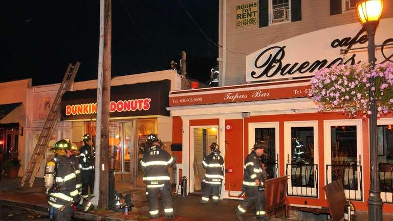 A fire broke out near a cafe in