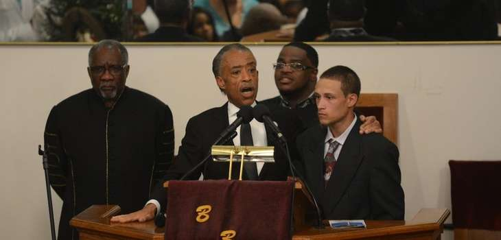Reverend Al Sharpton introduces Ramsey Orta, the man