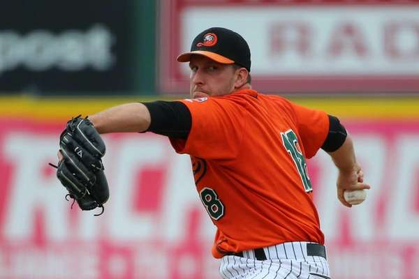 Long Island Ducks pitcher Bobby Blevins (18) delivers