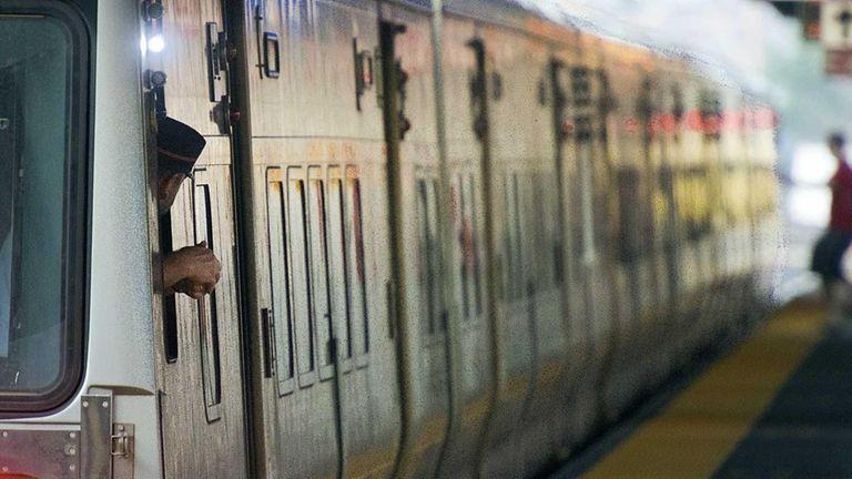 LIRR conductor checks a platform at Jamaica station