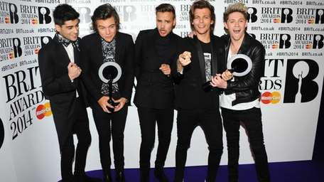 From left, Zayn Malik, Harry Styles, Liam Payne,