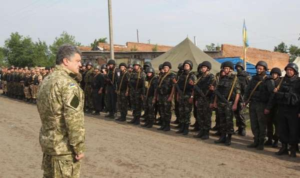 Ukraine President Petro Poroshenko, talks with the Ukrainian
