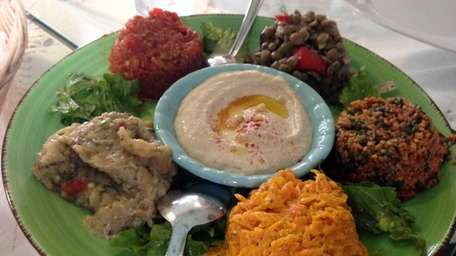 A mixed appetizer platter served at Turkuaz in
