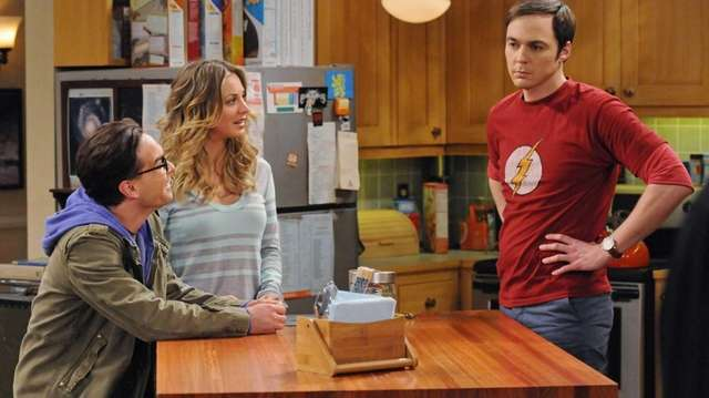 Johnny Galecki, from left, Kaley Cuoco and Jim