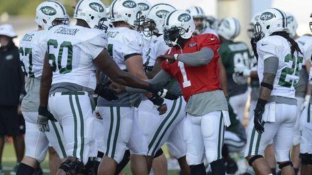 Jets quarterback Michael Vick (1) talks with teammates