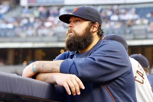 Joba Chamberlain #44 of the Detroit Tigers looks