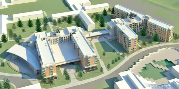 A rendering of a campus housing plan called