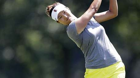 Annie Park tees off at 18 on Tuesday,