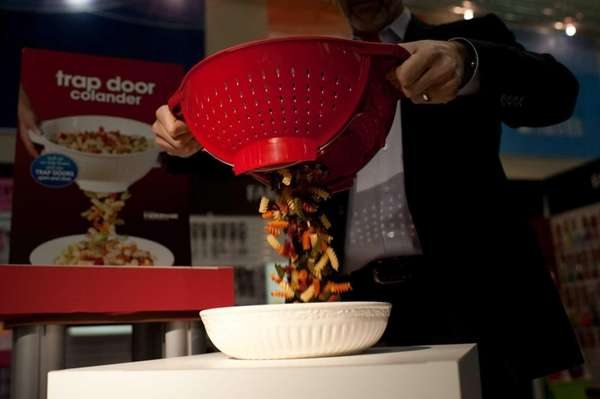 The Trap Door Colander is demonstrated on March