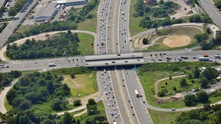 An aerial view shows the completed Route 110