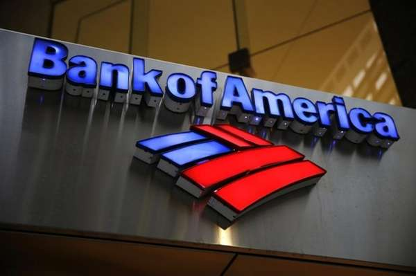 A Bank of America sign is photographed in