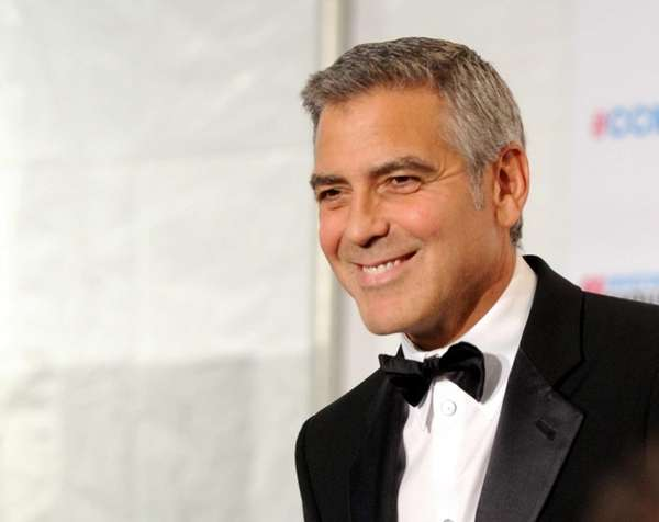 George Clooney in the press room during the