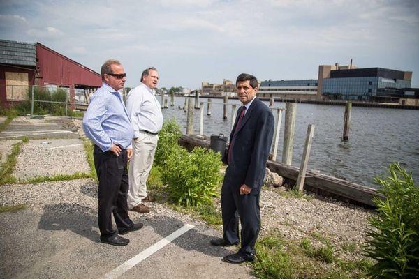 Residents Jim Smith, left, and Stweart Wurtzel talk