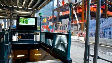 The Cortlandt Street Subway entrance seen across Church