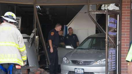 A motorist crashed his sedan deep inside the