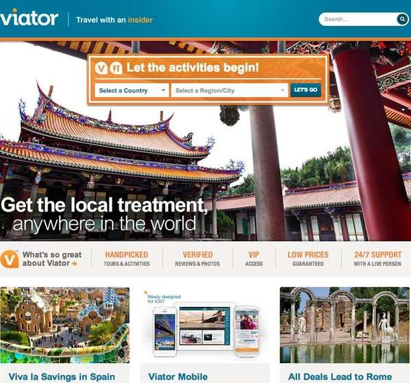 A screenshot of Viator.com, a travel and booking