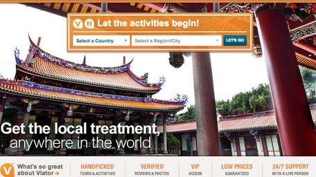 A screenshot of Viator.com, a travel and booking