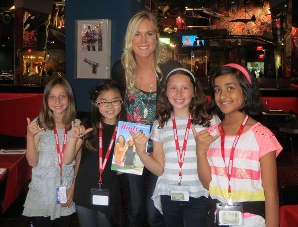 Surfer Bethany Hamilton with Kidsday reporters Mackenzie Setton,