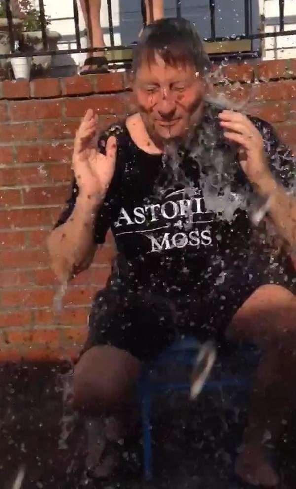 Republican gubernatorial candidate Rob Astorino is doused with