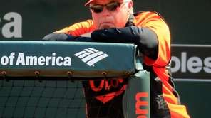 Baltimore Orioles manager Buck Showalter looks on during