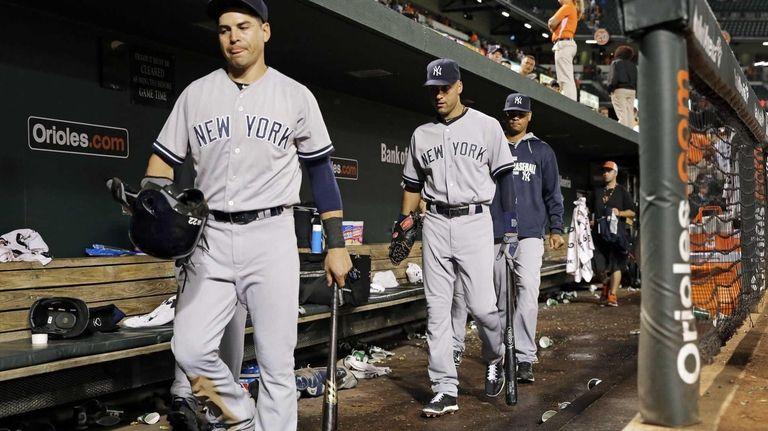 The Yankees' Jacoby Ellsbury, left, and Derek Jeter