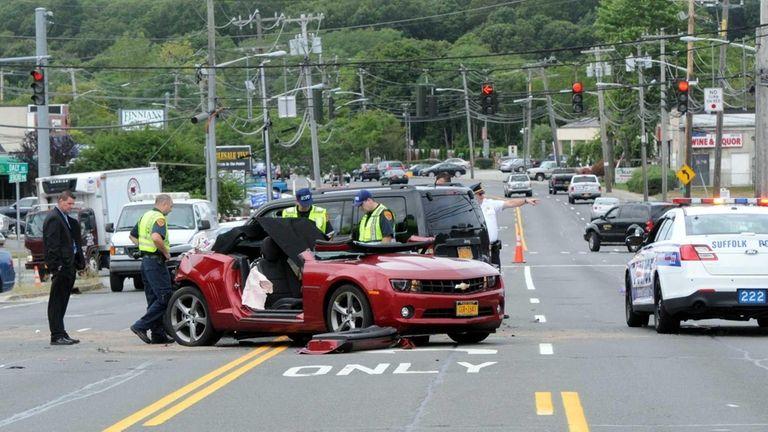 Suffolk County police crime scene investigators at the