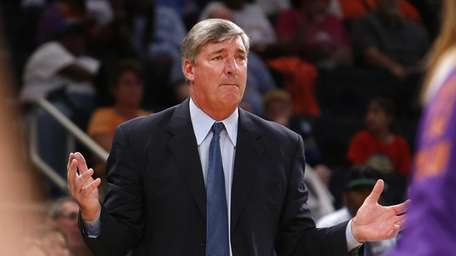 New York Liberty coach Bill Laimbeer reacts during