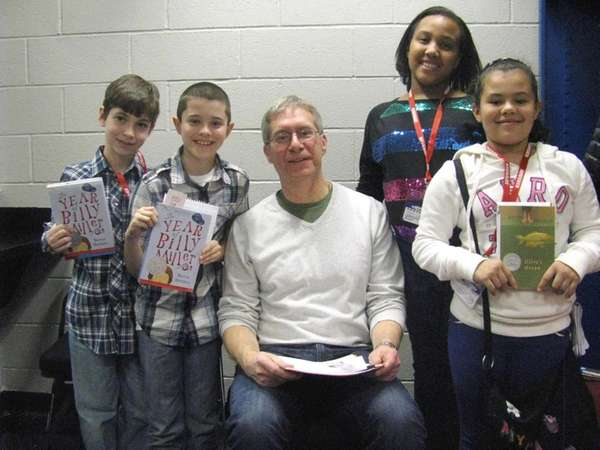 Author Kevin Henkes with Kidsday reporters Alexander Leacock,